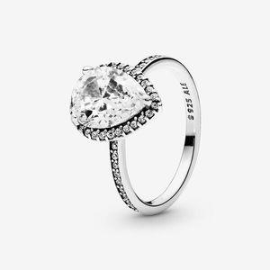 NWOT Pandora sparkling teardrop halo ring